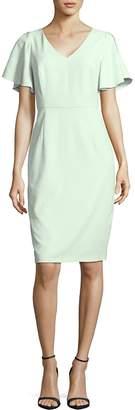 Adrianna Papell Women's Solid V-Neck Sheath Dress