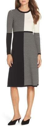 Eliza J Placed Stripe Midi Sweater Dress
