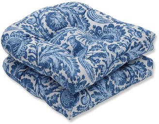 Tucker PILLOW PERFECT Pillow Perfect Set of 2 Resist Azure Wicker Patio Seat Cushion