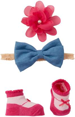 Little Me Chambray Bow Headband, Floral Clip, & Booties Set (Baby Girls)