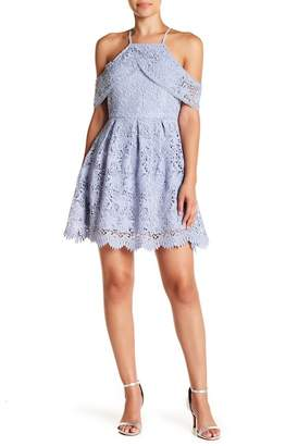 J.o.a. Lace Cold Shoulder Mini Dress