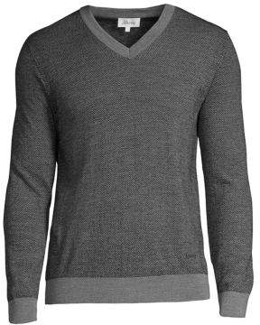 Brioni Herringbone Long-Sleeve Sweater