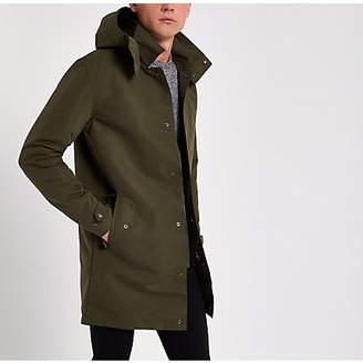River Island Jack and Jones dark green long parka jacket