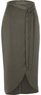 River IslandRiver Island Womens Khaki green satin wrap midi skirt