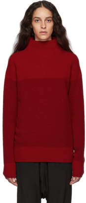 Y's Ys Red Boucle High Neck Turtleneck