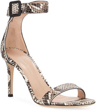 52ed840d5d6 Giuseppe Zanotti Snake-Print Leather Ankle-Strap Sandals