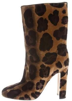 Dolce & Gabbana Velvet Leopard Ankle Boots