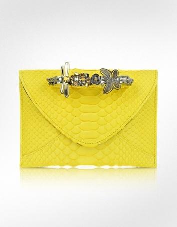 Maison du Posh Yellow Python Knuckle Clutch