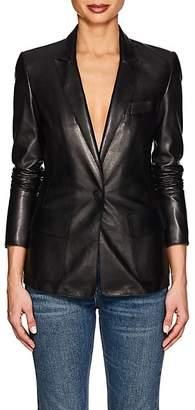 Giorgio Armani Women's Leather One-Snap Blazer - Black