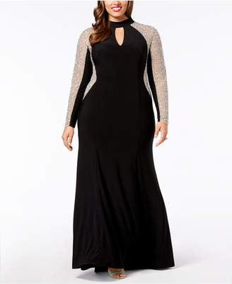 Xscape Evenings Plus Size Beaded Choker Gown