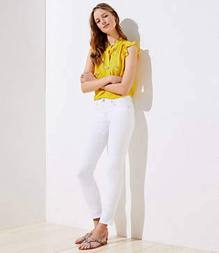 LOFT Petite Modern Slim Pocket Skinny Crop Jeans in White