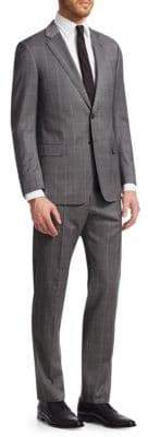 Giorgio Armani Modern Fit Windowpane Wool Suit