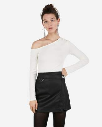 Express High Waisted D-Ring Wrap Front (Minus The) Leather Mini Skirt