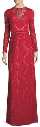 Tadashi Shoji Long-Sleeve Lace Illusion Appliqué Evening Gown