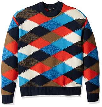 BOSS ORANGE Men's Kargyl Oversized Multicolor Argyle Intarsia Sweater