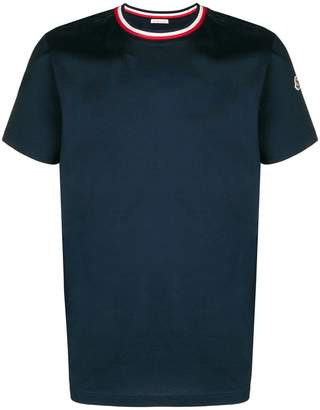 Moncler contrast collar short sleeve T-shirt