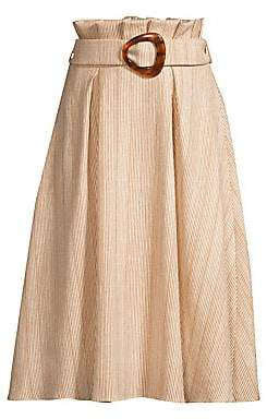 PatBO Women's Striped Belted Midi Skirt