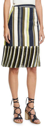 Zeus And Dione Striped Fringe-Hem Skirt