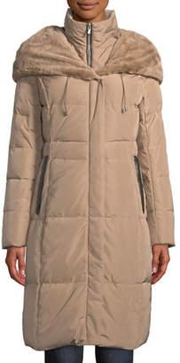 Cole Haan Taffeta Parka Coat w/ Faux-Fur Hood