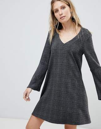 MANGO V Neck Check Dress