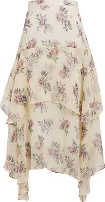 LoveShackFancy Alex Floral Midi Skirt
