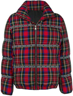 Versace checked puffer jacket