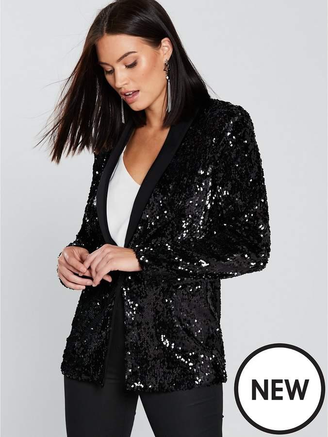 Sequin Tux Blazer - Black