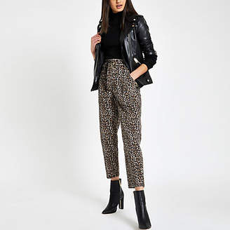 River Island Brown leopard print paperbag jeans