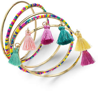 INC International Concepts I.n.c. Gold-Tone 5 Pc. Set Polished, Wrapped & Tassel Bangle Bracelets, Created for Macy's