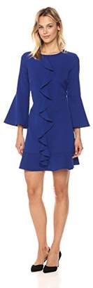 Nicole Miller Studio Women's Crepe 3/4 Bell Sleeve Ruffled Center Front Shift Dress