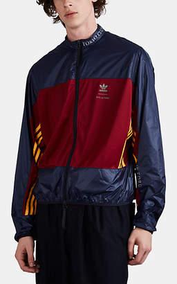 adidas Men's Logo-Print Ripstop & Jersey Windbreaker Jacket - Navy