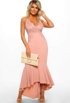 68e3144633f Pink Boutique Glam Squad Rose Pink Lace Fishtail Maxi Dress