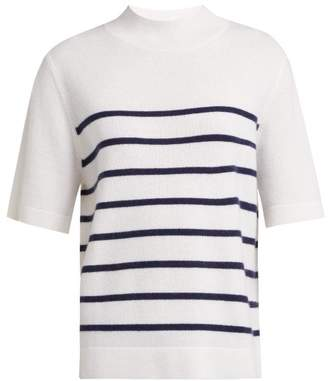 Allude Intarsia Stripe Short Sleeved Cashmere Sweater - Womens - Navy Stripe