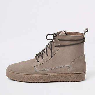 River Island Stone suede wrap around desert boots