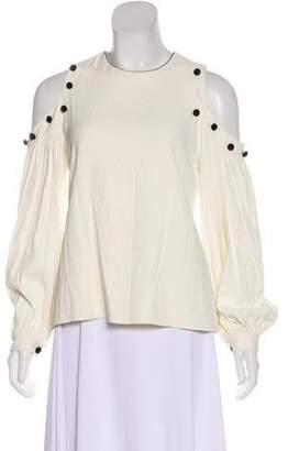 Alexis Velvet-Accented Cold Shoulder Blouse