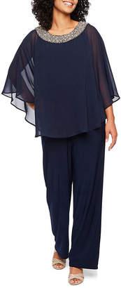R & M Richards 2-pc. Beaded Neck Poncho Pantsuit-Petite