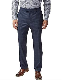 Simon Carter Wool Highlight Check Flat Front Suit Trouser