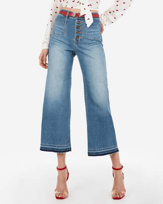 Express High Waisted Button Fly Wide Leg Cropped Jeans