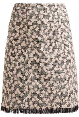 Giambattista Valli Floral Applique Tweed Skirt - Womens - Black Pink