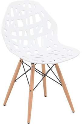 Mid-Century MODERN LeisureMod Akron Dining Side Chair With Wood Dowel Legs in White