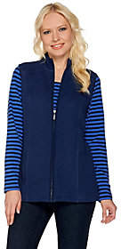 Denim & Co. Active Long Sleeve Striped Top andQuilted Vest St