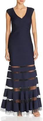 Tadashi Shoji Mesh-Inset Gown $408 thestylecure.com