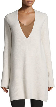 Helmut Lang Ribbed Wool-Blend V-Neck Tunic, Tusk $435 thestylecure.com