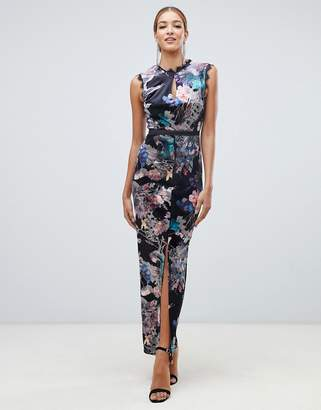 032a8117aa2b Little Mistress velvet lace trim maxi dress in floral multi