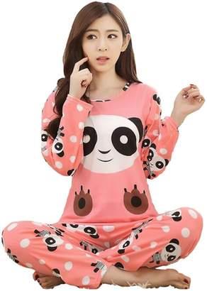 ZWT Big Girl's Teen Girls Cute Panda Pajama Sets Long Sleeve PJS Sleepwear