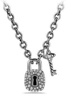 David Yurman Petite Lock and Key Charm Necklace with Diamonds