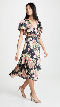 Divine Heritage Flutter Sleeve Midi Dress