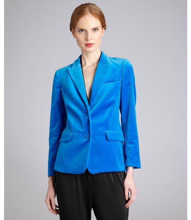 Halston electric blue velvet two-button blazer