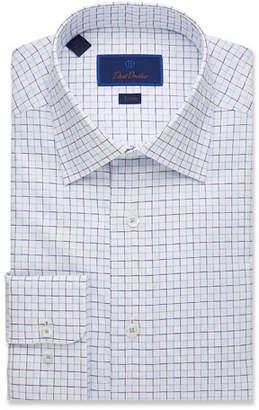 David Donahue Men's Trim-Fit Box Check Dress Shirt