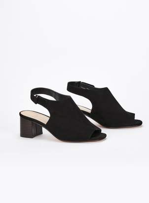 c05ef94f904 Evans EXTRA WIDE FIT Black Heel Peep Toe Sandals